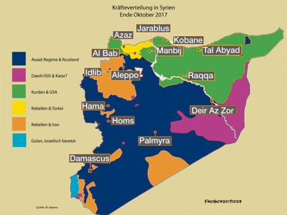 Militärische und politische Kräfteverhältnisse in Syrien, Ende Oktober 2017