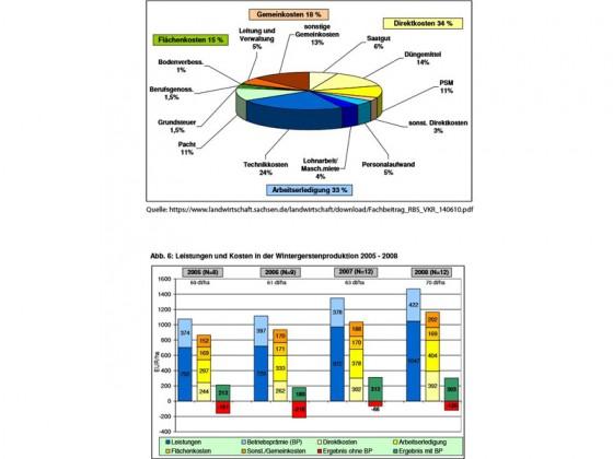 """Grundrente (""""Flächenkosten"""") der Agrarbetriebe Sachsens (2008)"""